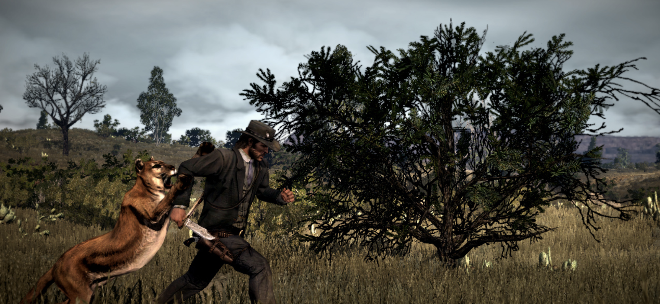 John Marston attacked by leopard. Red Dead Redemption Gameplay screengrab