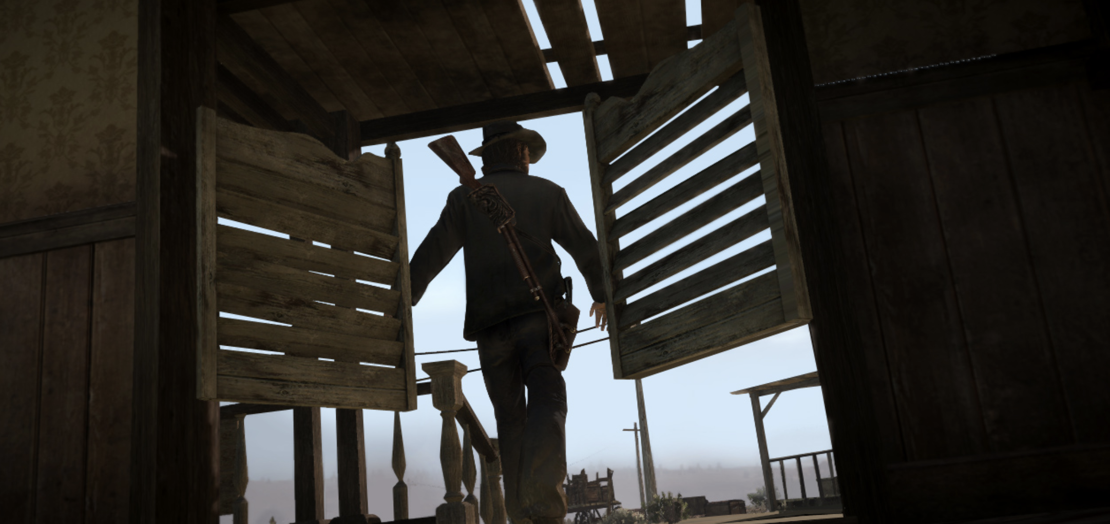 Red Dead Redemption Gameplay screengrab. John Marston third person pov
