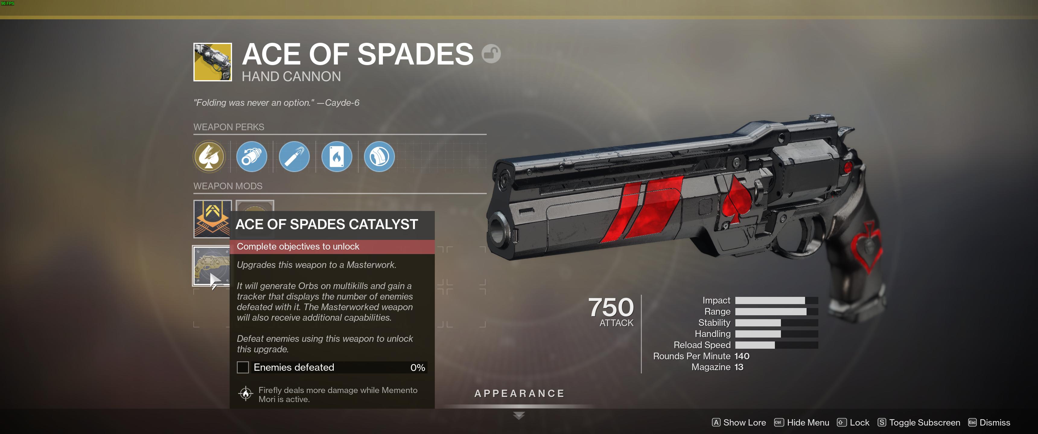 Destiny 2 The Ace of Spades Catalyst